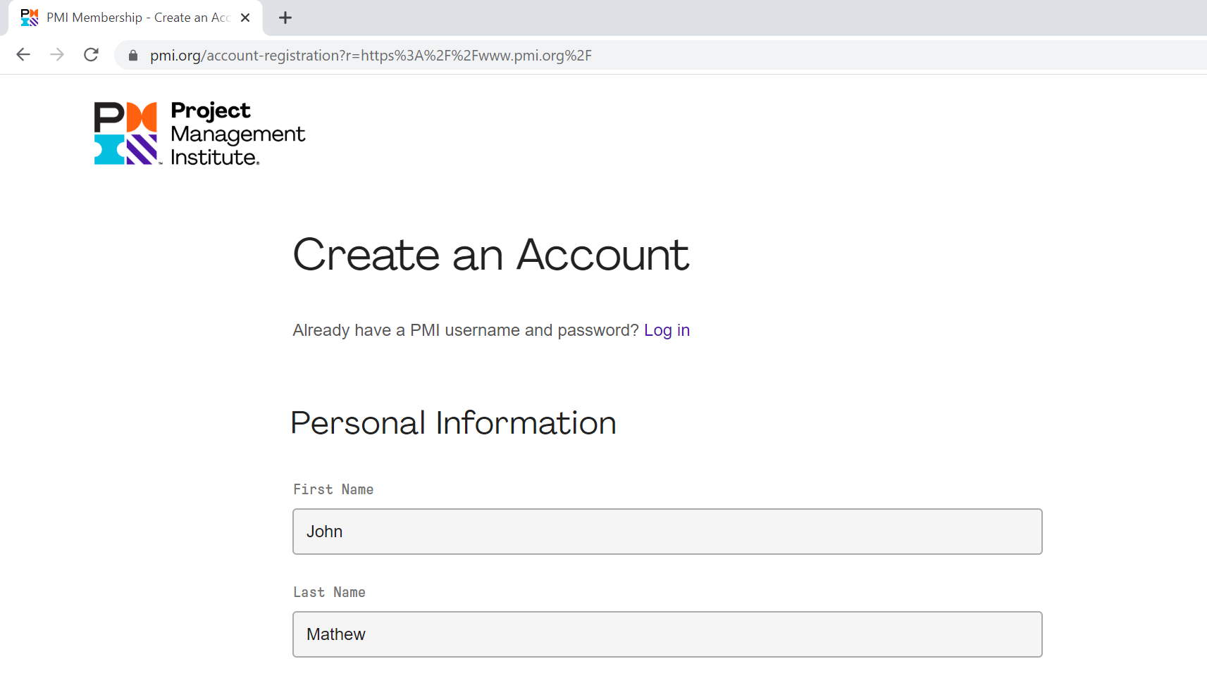Create your account-first page