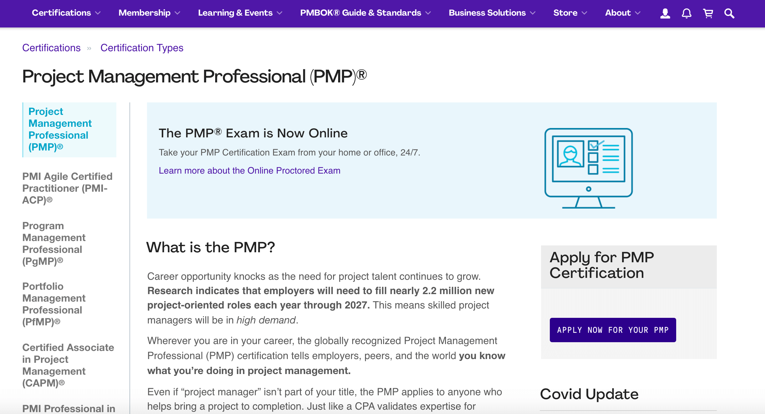 Apply for PMP certification page
